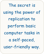 The secret is using the power of replication to perform basic computer tasks in a self-paced, user-friendly way.